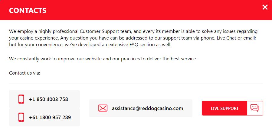 Red Dog Casino Customer Service
