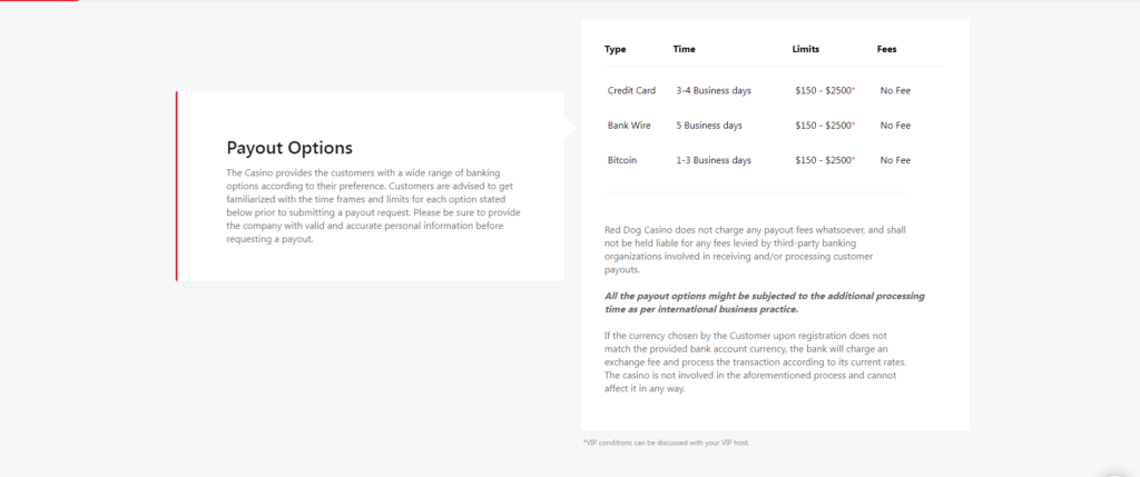 Red Dog Payout Process